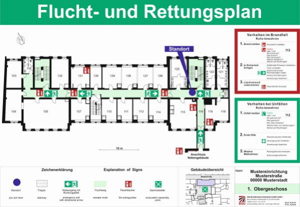 Flucht-und Rettungspläne nach DIN ISO 23601